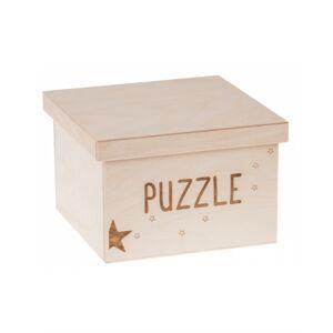 FK Dřevěný box na hračky - Puzzle gravír velký