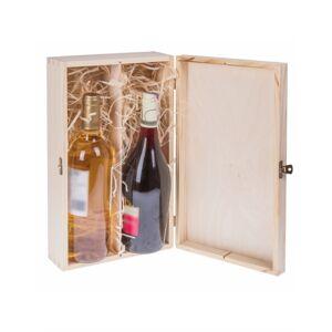 FK Dřevěná krabička na dvě láhve alkoholu - Přírodní 36x20x11 cm