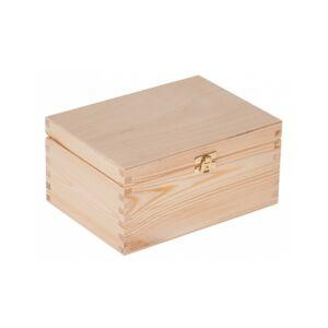 FK Dřevěná krabička se sponou - Přírodní 22x16x11 cm