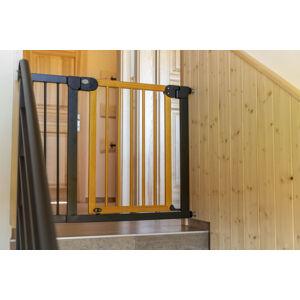 Dětská zábrana 125 - 132 cm - Kovová se světlým dřevem - PupyHou
