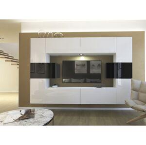 Anral Obývací stěna Lucy 8 - Bílo/černý lesk