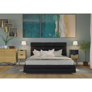 Bigmeble Čalouněná postel Bellius - 160x200 cm - Eko-kůže (černá)