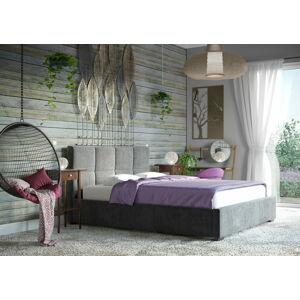 Bigmeble Čalouněná postel SEMÖ - 140x200 cm - Semiš (tmavě šedá)
