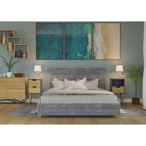 Bigmeble Čalouněná postel Bellius - 180x200 cm - Semiš (Šedá)