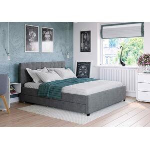 Bigmeble Čalouněná postel Créma - 120x200 cm - Látková (tmavě šedá)