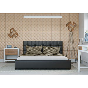 Bigmeble Čalouněná postel Modeno - 120x200 cm - Eko-kůže (Černá)