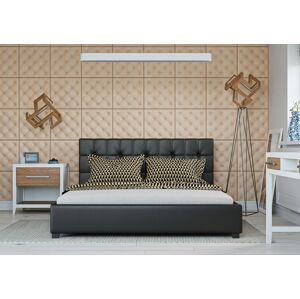 Bigmeble Čalouněná postel Modeno - 140x200 cm - Eko-kůže (Černá)