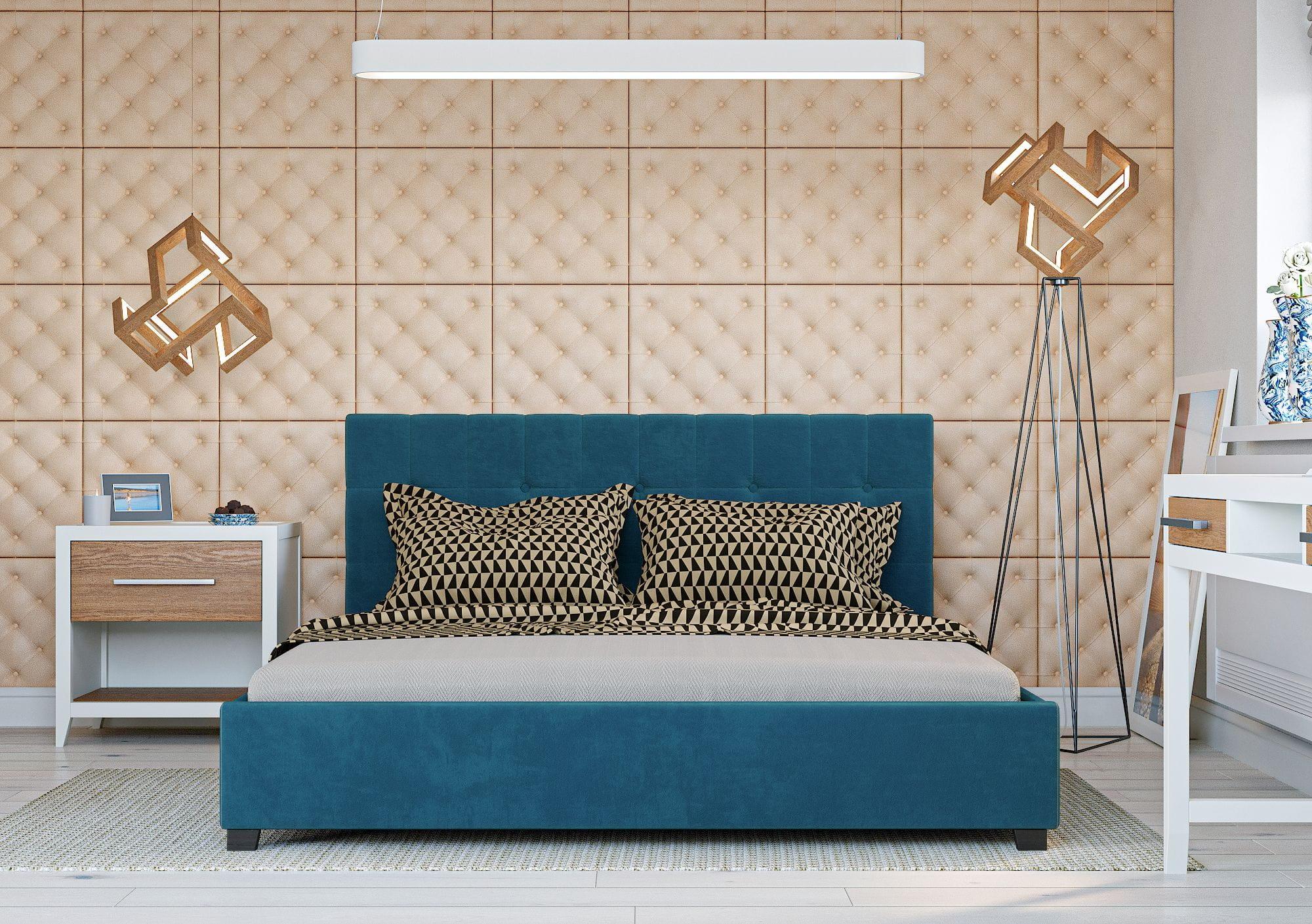 Bigmeble Čalouněná postel Modeno - 140x200 cm - Semiš (Azurová)
