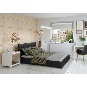 Bigmeble Čalouněná postel Modeno - 160x200 cm - Eko-kůže (Černá)