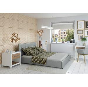 Bigmeble Čalouněná postel Modeno - 160x200 cm - Eko-kůže (Šedá)