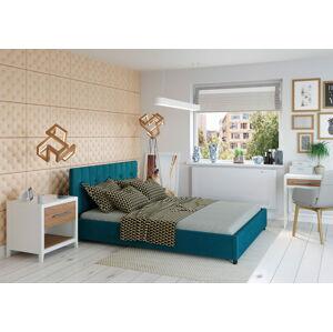 Bigmeble Čalouněná postel Modeno - 180x200 cm - Semiš (Azurová)