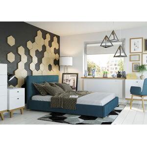 Bigmeble Čalouněná postel Molm - 140x200 cm - Semiš (Azurová)