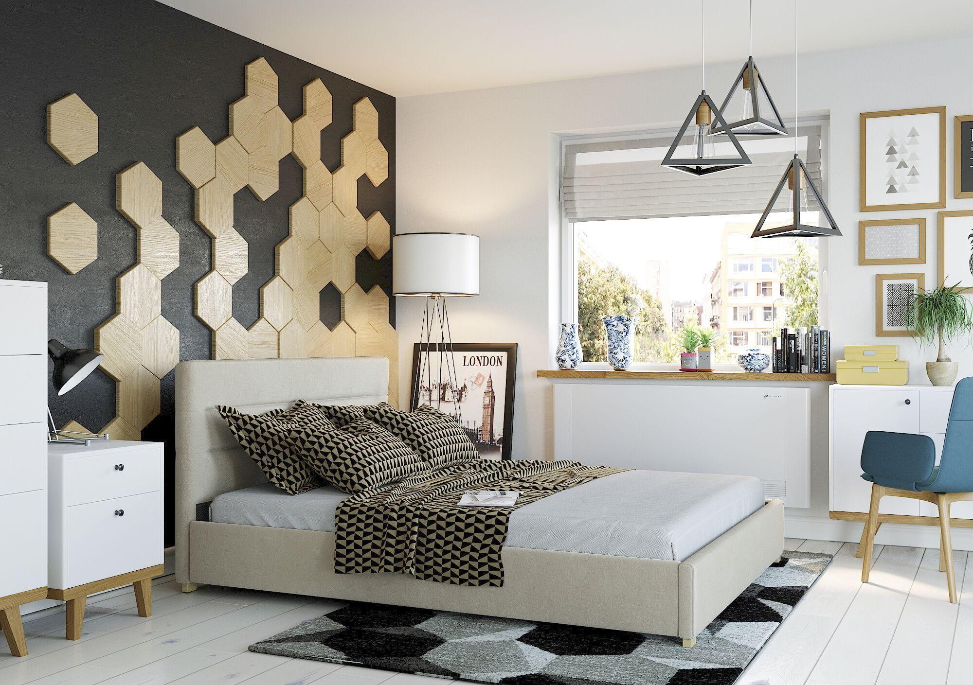 Bigmeble Čalouněná postel Molm - 160x200 cm - Semiš (Béžová)
