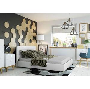 Bigmeble Čalouněná postel Molm - 160x200 cm - Eko-kůže (Bílá)