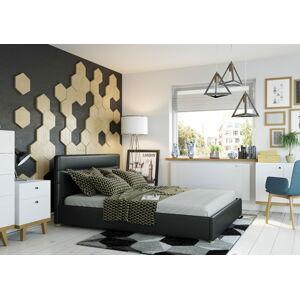 Bigmeble Čalouněná postel Molm - 160x200 cm - Eko-kůže (Černá)