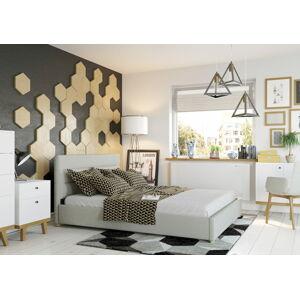 Bigmeble Čalouněná postel Molm - 180x200 cm - Tkanina (Béžová)