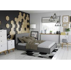 Bigmeble Čalouněná postel Molm - 180x200 cm - Tkanina (Tmavě šedá)
