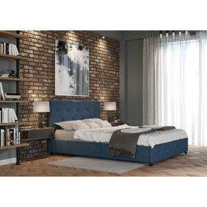 Bigmeble Čalouněná postel Sart - 120x200 cm - Tkanina (Azurová)