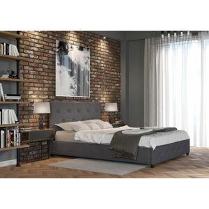 Bigmeble Čalouněná postel Sart - 140x200 cm - Tkanina (Tmavě šedá)