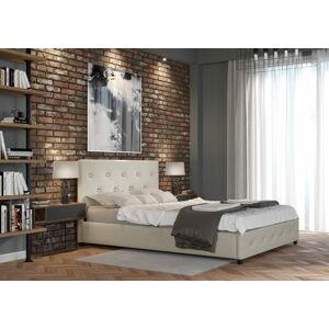 Bigmeble Čalouněná postel Sart - 160x200 cm - Tkanina (Béžová)