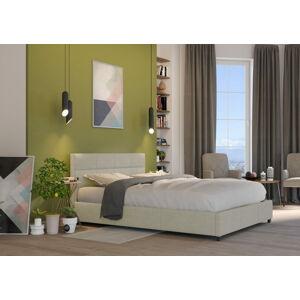 Bigmeble Čalouněná postel Holma - 120x200 cm - Tkanina (Béžová)
