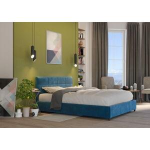 Bigmeble Čalouněná postel Holma - 140x200 cm - Semiš (Azurová)