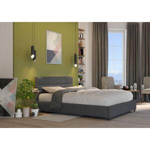 Bigmeble Čalouněná postel Holma - 140x200 cm - Tkanina (Tmavě šedá)