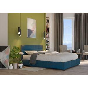 Bigmeble Čalouněná postel Holma - 160x200 cm - Tkanina (Azurová)