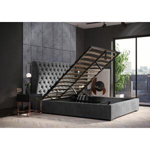 Bigmeble Čalouněná postel Riami - 140x200 cm - Semiš (Tmavě šedá)