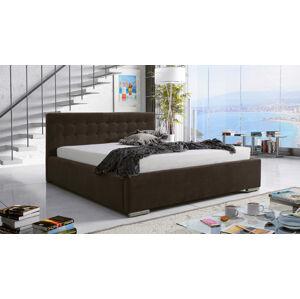 Eka Čalouněná postel Anastasia 140x200 cm Barva látky Casablanca: Tmavá hnědá (08)