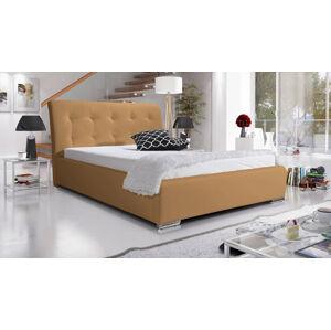 Eka Čalouněná postel Star 120x200 cm Barva látky Eko-kůže: Světle hnědá (03)