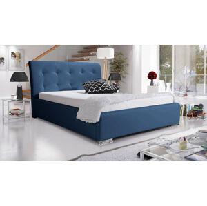 Eka Čalouněná postel Star 160x200 cm Barva látky Eko-kůže: Tmavě modrá (09)