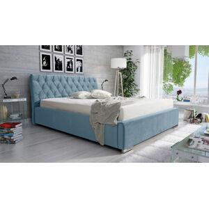 Eka Čalouněná postel Luxurious 120x200 cm Barva látky Casablanca: Modrá (22)
