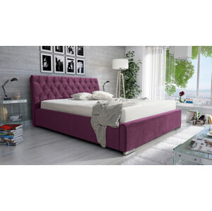 Eka Čalouněná postel Luxurious 140x200 cm Barva látky Casablanca: Fialová (11)