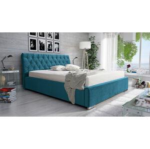 Eka Čalouněná postel Luxurious 140x200 cm Barva látky Casablanca: Azurová (13)