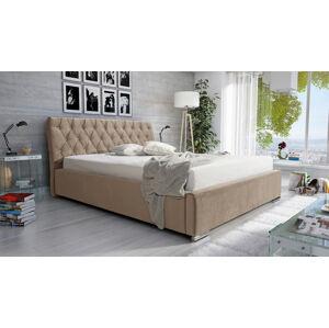 Eka Čalouněná postel Luxurious 160x200 cm Barva látky Casablanca: Béžová (04)