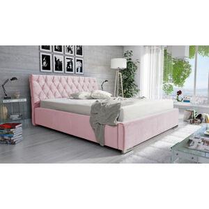 Eka Čalouněná postel Luxurious 160x200 cm Barva látky Casablanca: Pastelová růžová (19)