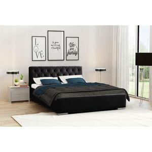 Eka Čalouněná postel Elegant 180x200 cm Barva látky Casablanca: Černá (16)