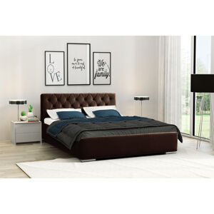 Eka Čalouněná postel Elegant 160x200 cm Barva látky Casablanca: Tmavá hnědá (08)