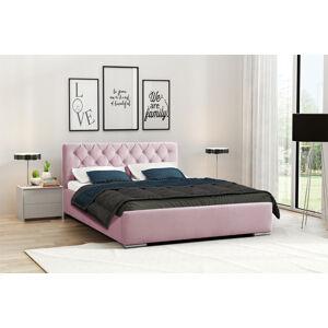 Eka Čalouněná postel Elegant 90x200 cm Barva látky Casablanca: Pastelová růžová (19)