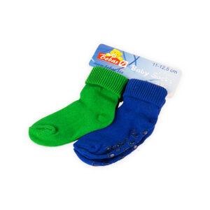 Bobas Kojenecké froté ponožky 11-12,5 cm (2 páry) – Zelené a modré
