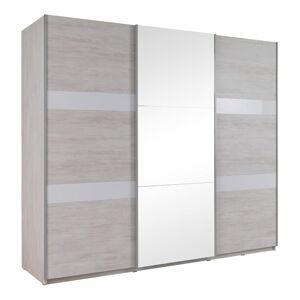 MDC Posuvná skříň se zrcadlem Devon - Bílý dub + bílý lesk