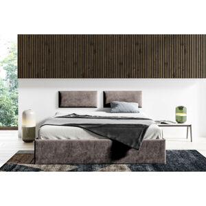 Čalouněná postel Lucy - 160x200 cm Barva látky Casablanca: Tmavá hnědá (08)