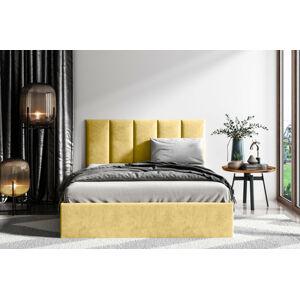 Čalouněná postel Lucy 1 - 140x200 cm Barva látky Casablanca: Žlutá (18)