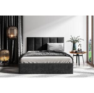 Čalouněná postel Lucy 1 - 160x200 cm Barva látky Casablanca: Černá (16)