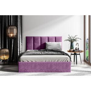 Čalouněná postel Lucy 1 - 160x200 cm Barva látky Casablanca: Fialová (11)