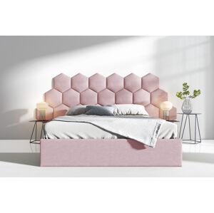 Čalouněná postel Lucy 3 - 140x200 cm Barva látky Casablanca: Pastelová růžová (19)
