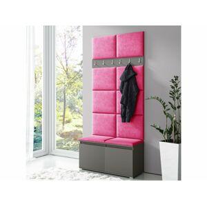 Eka Předsíňová stěna s čalouněnými panely Trinity - Růžová