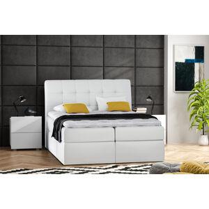 Kontinentální čalouněná postel Lory - Eko-kůže (200x200 cm) Barva látky Eko-kůže: Bílá (17)