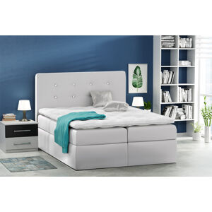 Kontinentální čalouněná postel Nora - Eko-kůže s dekorací (200x200 cm) Barva látky Eko-kůže: Bílá (17)